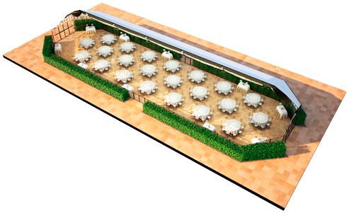 Plano de la Pérgola de Cristal en 3D